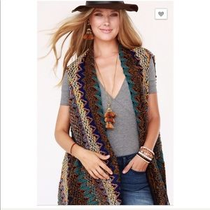 Boho Knit Boucle Vest with Tassel Accent OSFM NEW
